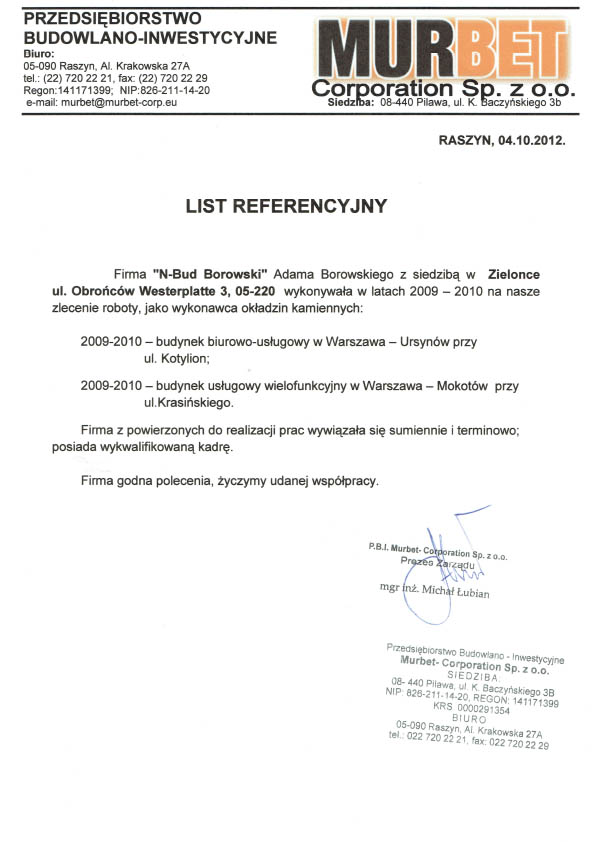 Referencje MURBET 2012