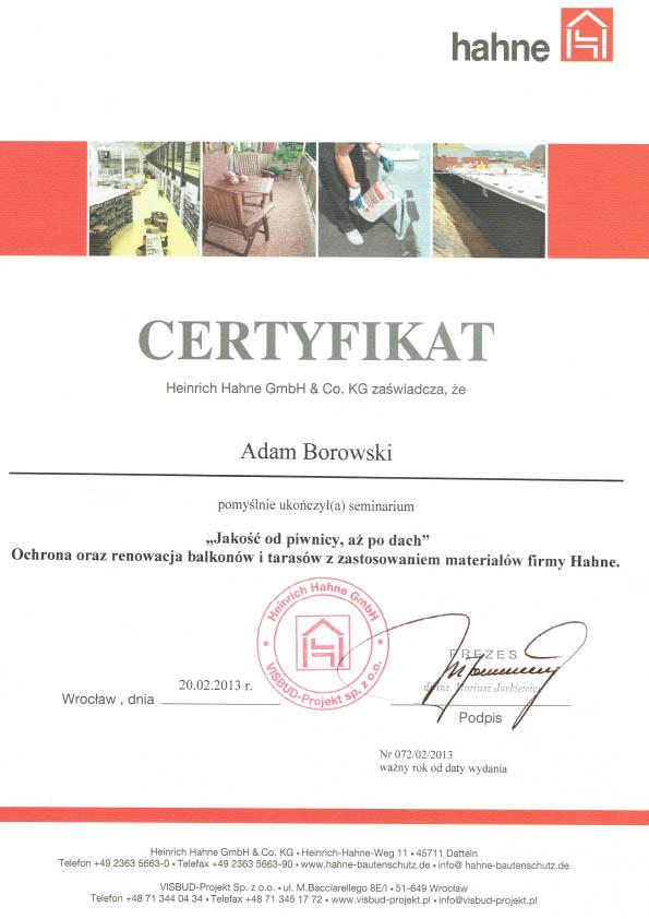 Szkolenie Hahne balkony i tarasy 2013